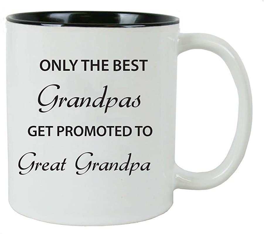 Only The Best Grandpas Get Promoted To Great Grandpa Ceramic Coffee Mug Black