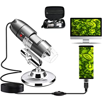 USB Microscope Camera 40X to 1000X, Cainda Digital Microscope with Metal Stand & Carrying Case Compatible with Android Windows 7 8 10 Linux Mac, Portable Microscope Camera (USB Microscope)