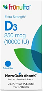 Frunutta Vitamin D3 10000 IU Under The Tongue Instant Dissolve Tablets - 250mcg x 100 - for Stronger Bones, Muscles and Im...