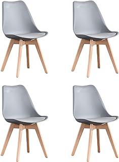 Naturelifestore Pack de 4 sillas de comedor / oficina con madera de haya Piernas Para Comedor / Sala de estar / Café / Res...