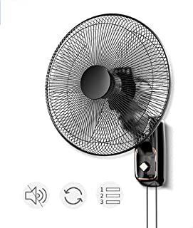 N /A Ventilador de Pared de 17 Pulgadas con Cordón de Extracción, Ventilador de Pared de Enfriamiento de Inclinación Ajustable Silencioso con 3 Velocidades/Oscilación de 120 ° para/Hogar Industrial