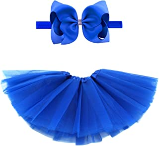 BGFKS 5 Layered Toddlers Tulle Tutu Skirt for Girls with Headband for Baby Girl 0 to 36 Months (Dark Blue, M,6-24 Months)