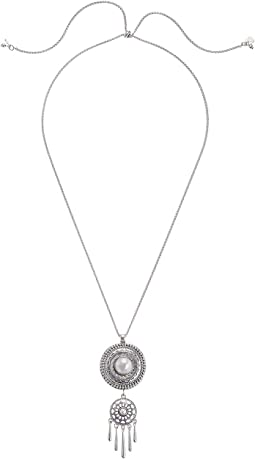 Etched Coin Pearl Fringe Pendant Necklace