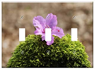 Switch Plate Triple Toggle - Azalea Blossom Bloom Purple Pink Purple Flower