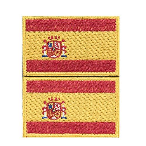 Parche España 2 x Parches Velcro España Español Bandera Táctico bandera con velcro podría ser pegado a la ropa, chaleco, gorra, mochila