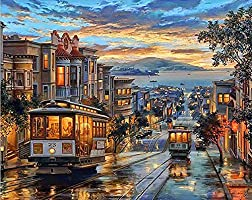 Paint by Numbers-DIY Digital Canvas Oil Painting Adults Kids Paint by Number Kits Home Decorations-Tram in Street 16 * 20...