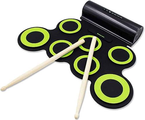 Vkospy Elektronische Roll Up Drum Pad aufladbarer Drum Kopfürer Eingebaute Doppellautsprecher Drum Pedale Stücks