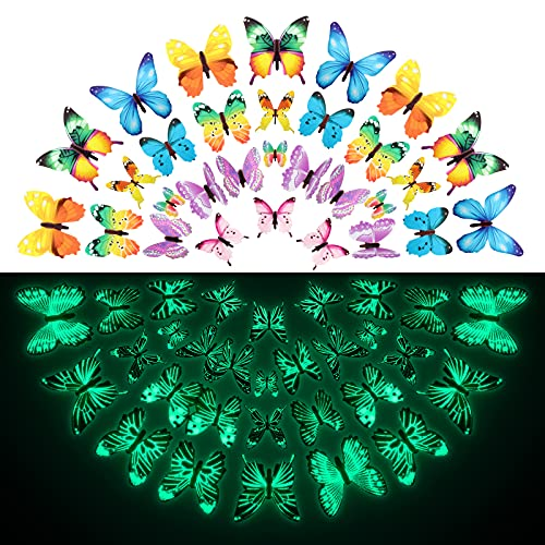 96 Pieces Butterfly Wall Decals Glow in The Dark Butterflies Decor for Ceiling Adhesive Removable 3D...