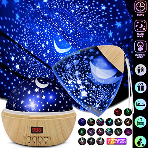DSAATN Star Projector Light for Bedroom with Super Timer, Toys for 1 2 3 4 5 6 7 8 9 10 year old girls & Boys Toys Age 1-10 Stars & Moon Make Child Sleep Peacefully Kids Night Light Best- Wooden Grain