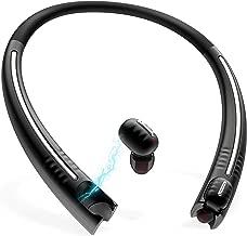 True Wireless Earbuds with Charging Neckband, Bluenin TWS Bluetooth 5.0 Headphones CVC8.0 Noise Cancelling in-Ear Earbuds Sport Sweatproof Stereo Earphones with Built in Mic (Black)