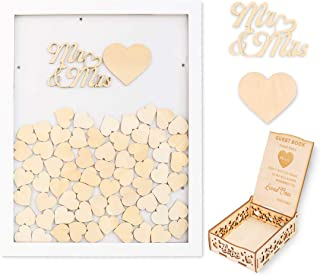 Creawoo Wooden Guest Book Frame Wedding Drop Box (Detachable Back) with 100 Blank Hearts and Free Guest Sign Box for Wedding Gifts Friends Present (White Color)