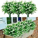 Yyhmkb 8 Piezas de Flores Artificiales de otoño al Aire Libre Resistente a los Rayos Ultravioleta de Color Naranja Plantas Falsas de plástico sintético para Colgar en el Exterior, arreglo, Blanco