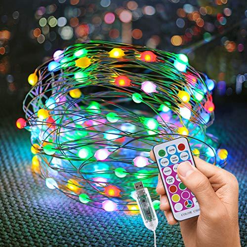 Pasqua Stringa luci fatate natalizie 10M 100 LED USB lucine al coperto con 8 colori, luci a LED per interni per Natale Festa di nozze di Applique da parete stellata Decorazione natalizia per la casa