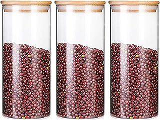 Bocaux de Conservation Alimentaire Hermétiques à Nourriture Ensemble de Boîtes des Aliments Sèche sans BPA Blanc 1200ml*3 ...