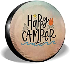 Uktly Spare Tire Cover Happy Camper Tire Covers for RV Jeep Wrangler Trailer Campers 14 15 16 17 Inch Wheel Water-Proof Dust-Proof and Sun Protection