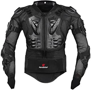 HEROBIKER Motorcycle Full Body Armor Jacket spine chest protection gear Motocross Motos Protector Motorcycle Jacket 2 Styles (M, Black)