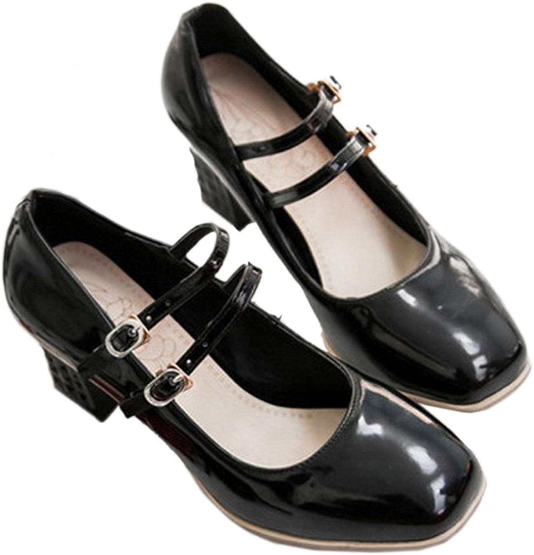 High Heel Double Buckle Women shoes Plus Size black 39