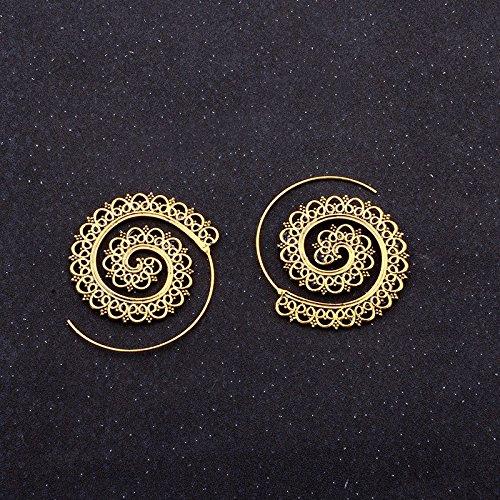 Luckyfree Whirlpool Zahnradeingriff Ohrringe Persönlichkeit Kreis Spirale Ohr Schmuck, Gold
