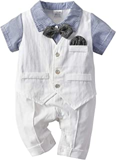 Baby Boy Gentleman Romper with Tuxedo Bowtie, Newborn Short Sleeves Jumpsuit Overall Outfit