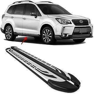OMAC Placas de corrida de alumínio para barras Nerf Cinza/Preto 2 peças | Serve para Subaru Forester 2013-2018 - Peça de r...