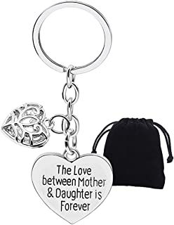 Mothers Day Gifts from Daughter, Keychain Keyring Engraved Love Between Mother Daughter is Forever with Heart Key Chain, Women Mummy and Daughter Key Rings for Mums Christmas Birthday Presents