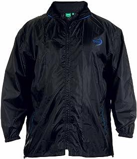 D555 Big Size Mens Rainproof Jacket Raincoat Mac Weatherproof Packaway with Bag, Black (1XL-8XL)
