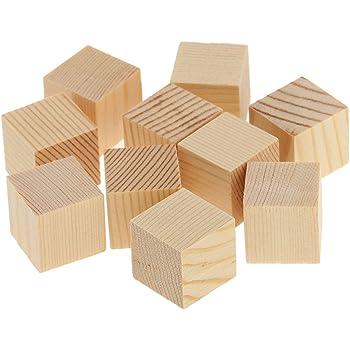 10pz Naturali Cubi Di Legno Qure Abbellimento Per 25x25x25mm Mestiere