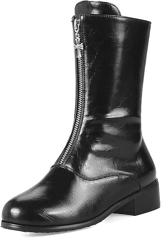 Gcanwea Women's Stylish Round Toe Low Block Heel Mid Calf Boots with Zipper Beige 6.5 M US