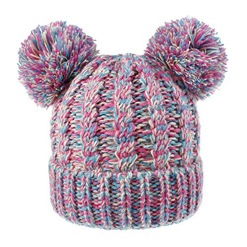 KPWIN Toddler Kids Baby Girls' Pom Pom Ears Chunky Thick Stretchy Cable Knit Soft Winter Beanie Hat (Multicoloured)