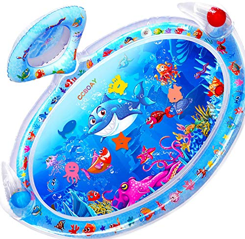 CCBOAY Inflatable Tummy Time Water Mat with Mirror and Rattles for Infants Toddlers Stimulation Growth Baby Activity Center for 3 6 9 12 Months Boys Girls XLarge