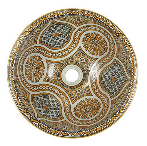 Saharashop Orientalisches Keramik Waschbecken Fès Orange