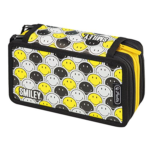 Herlitz Triple Etui 31 teilig Faces Federmäppchen, 19 cm, Smiley Black & Yellow Stripes