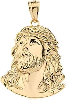 Solid 14k Yellow Gold Jesus Head Face Charm Religious Pendant, 0.92