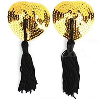 ZNTY New Hot 1 Pair Sexy Pasties Stickers Women Lingerie Sequin Tassel Breast Bra Nipple Cover (Color : Gold)