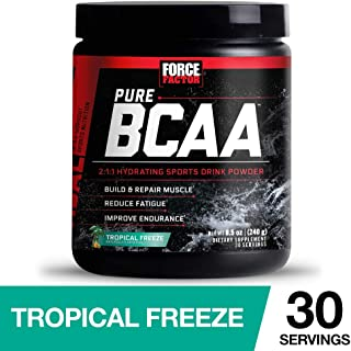 Force Factor Pure BCAA Hydrating Intra-Workout Powder with 2:1:1 BCAA Ratio to Build Lean Muscle, Reduce Fatigue, and Improve Endurance, 30 Servings