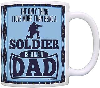 Tasse à café 11 oz en céramique cadeaux tasse de thé pères jour seule chose amour plus que d'être un soldat est un papa Ar...