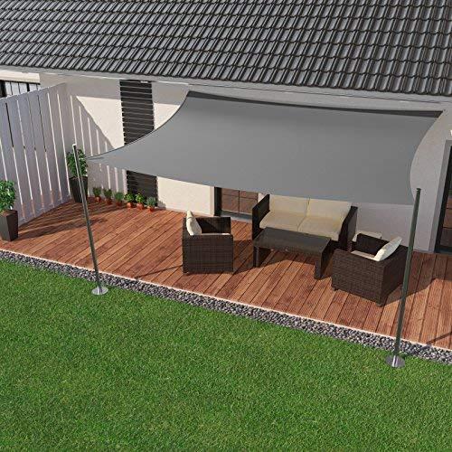 IBIZSAIL Sonnensegel wasserabweisend Sonnenschutz für Garten Balkon aus PES rechtwinklig-400 x 200 cm-Grau(inkl. Spannseilen)
