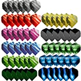 Haosell - Juego de 66 plumas para dardos, color blanco, negro, rosa, rojo, lila, rosa, azul, gris, gris, para dardos blandos y dardos de acero