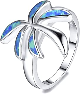 888 Easy Shop Blue Fire Opal Palm Tree Classic Ring White Gold Wedding Band Jewelry (8)