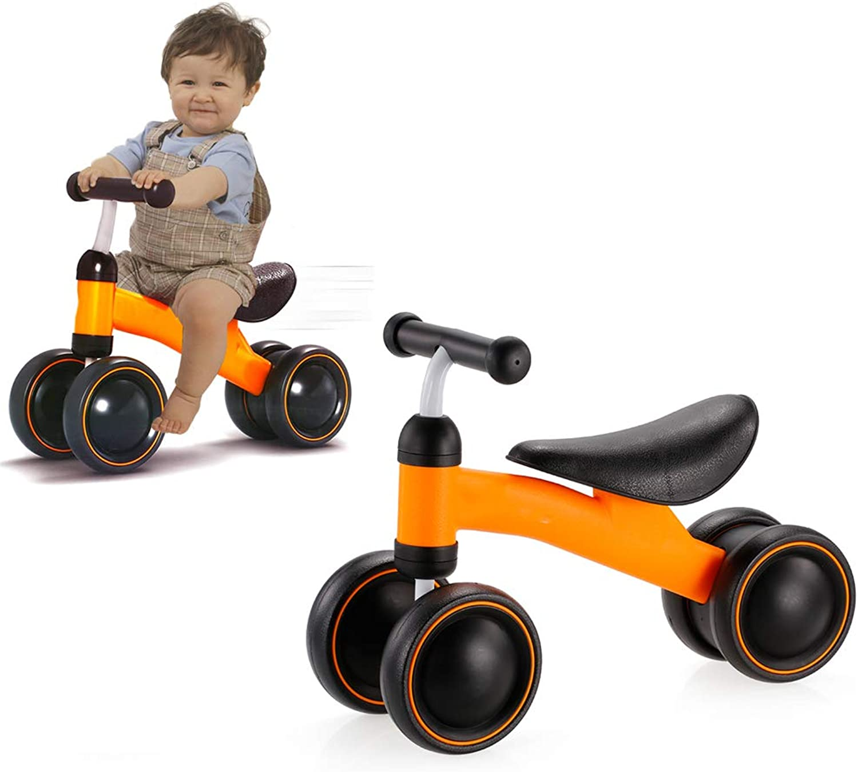 HBIAO Triciclo bambino Balance, Impara a Camminare per bilanciare Il Senso del Piede Pedale Giocattolo per Bambini Neonato 1-3 Anni,arancia