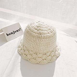 SHENTIANWEI Bucket hat Female Autumn and Winter Wool hat Handmade Knitted lace Korean Version of Sweet and Cute Little face Significant Warm hat (Color : Beige, Size : One Size)
