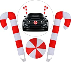 Outgeek Christmas Car Decorations Candy Cane Antler Nose Auto Decor Car Supplies Window Roof-Top & Front Grille Holiday Xm...