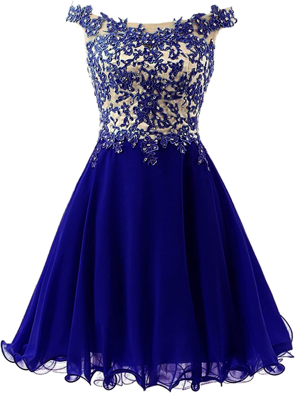 JAEDEN Lace Short Homecoming Dress Chiffon See Through Back Cocktail Party Dress Appliques Mini Prom Gown