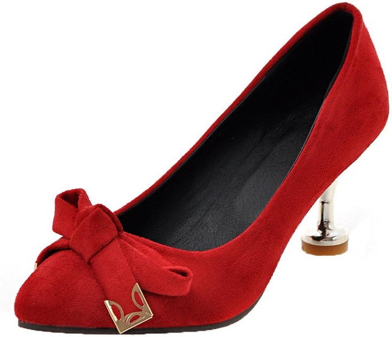 AmoonyFashion Women's Closed-Toe Kitten-Heels Soild Pumps-shoes