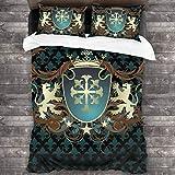 BEITUOLA Juego de Funda nórdica,Diseño heráldico de la Edad Media Escudo de Armas Corona Leones y remolinos,1 Funda de Edredón y 2 Fundas de Almohada 140 x 200cm