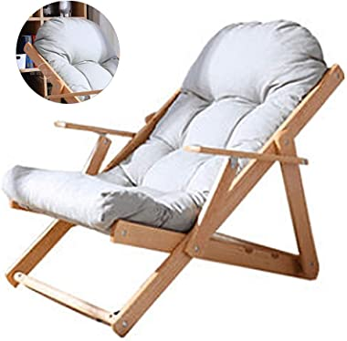 Recliners Outdoor Rocking Chair Bamboo Rocking Chair Adult Folding Chair Fabric Outdoor Leisure 3-Speed Adjustment Sleeping F