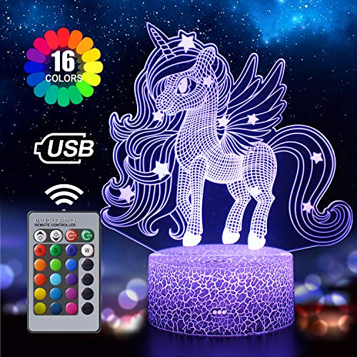 Unicorn Night Light for Kids, 3D Illusion Lamp 16 Colors Changing with Remote, Birthday and Holiday Gift for Children Girls (Unicorn4)