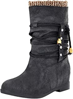 Holzkary Women's Winter Boot Soft Lined Classic Mid-Calf Snow Boots Round Toe Booties with Lace