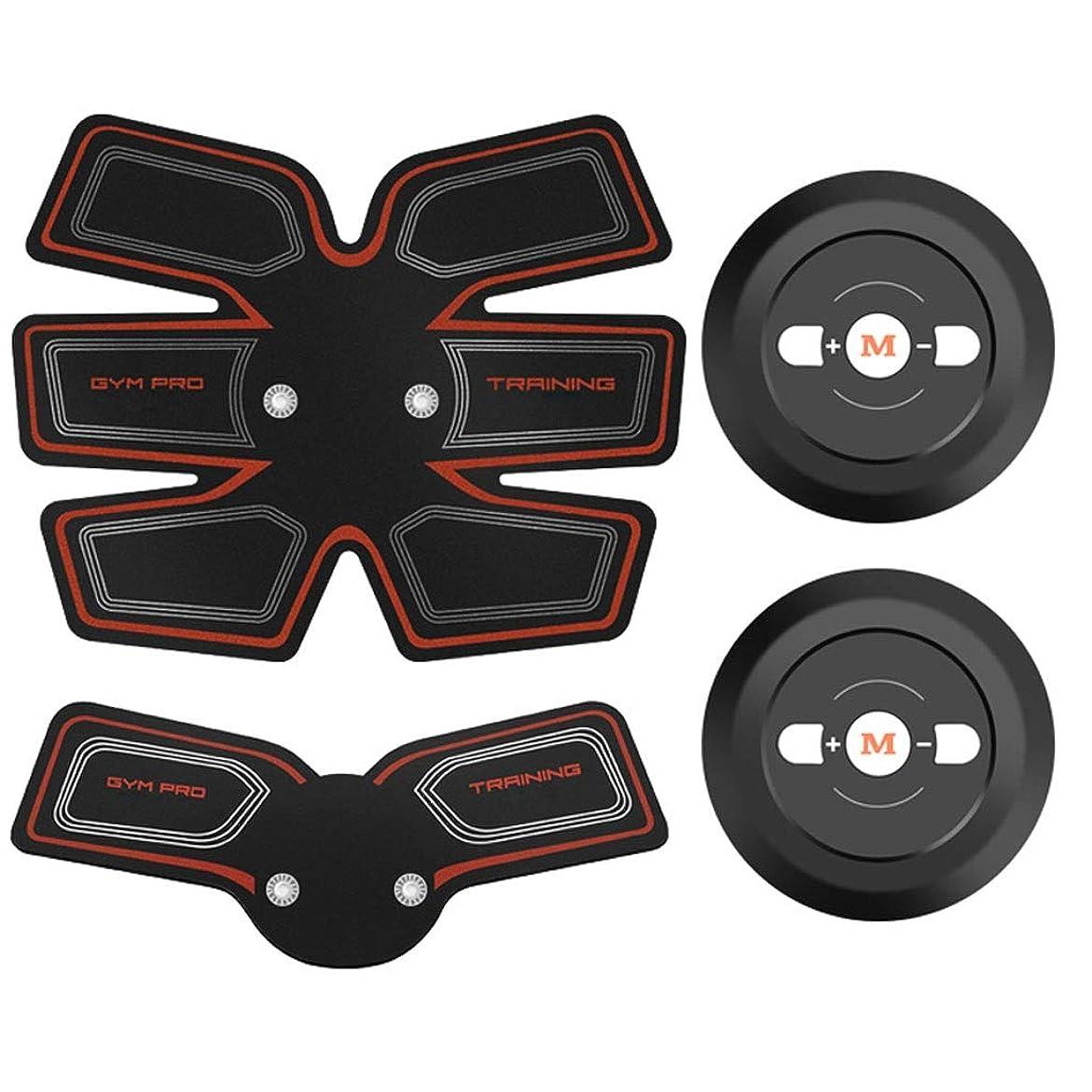天井時代遅れ伝記EMS ABSトレーナー、腹部調色ベルト、EMSマッスルスティミュレーター、マッスルトナーフィットネストレーニングギア(男性用)女性腹部アームレッグトレーナー(オフィス用) (Color : Red, Size : A+B)
