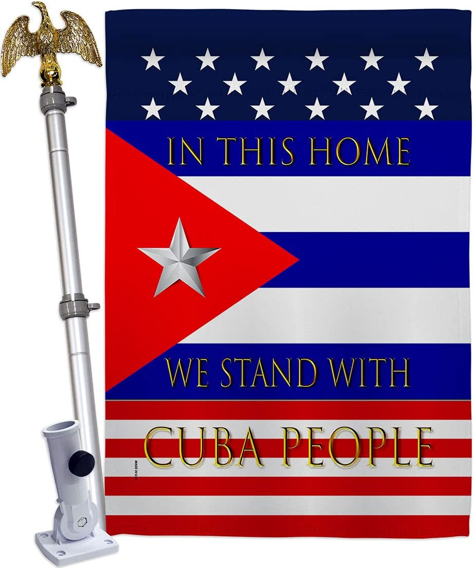 USA Jacksonville Mall Decoration Stand Max 81% OFF with Cuba House Support Eagle Flag Set Caus